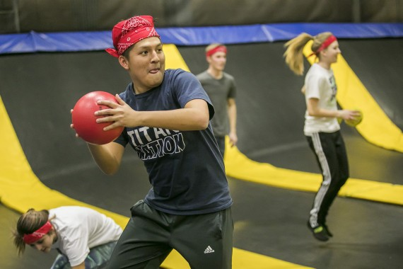 friends playing dodgeball