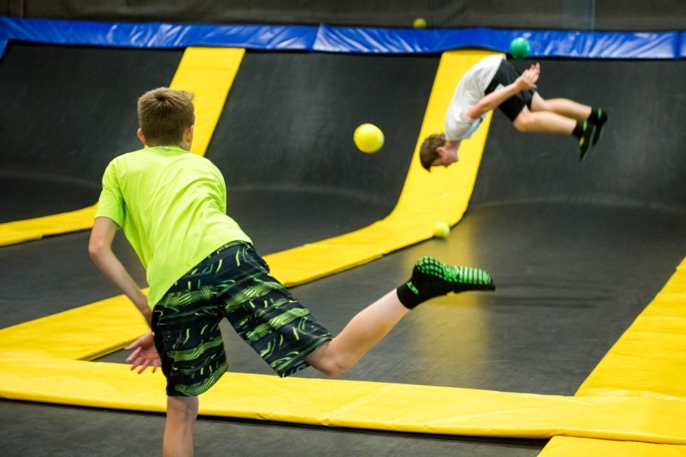 jump flips and dodge ball