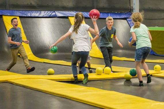 dodgeball games on trampolines