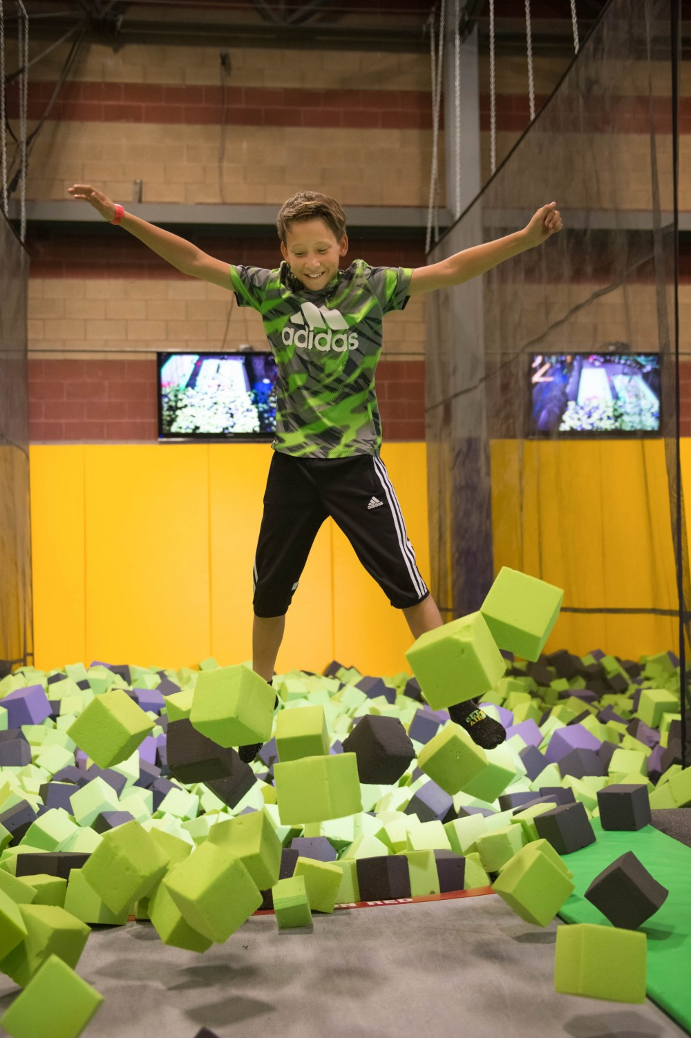 jumping in the foam pit