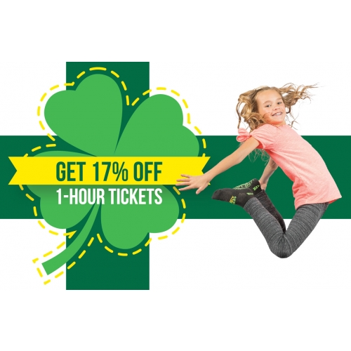ST. PATRICK'S DAY DEAL – GET 17% OFF 1-HOUR JUMP TICKETS