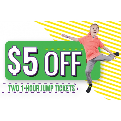 $5 Off Two 1 Hr Jump Tickets