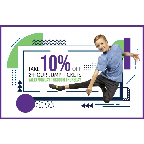 10% Off 2-Hr Jump Tickets valid Monday through Thursday