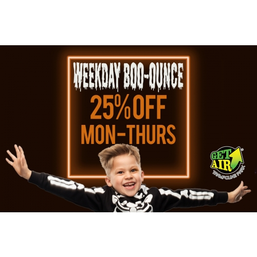 Weekday Boo-ounce – Get 25% off tickets valid Monday through Thursday