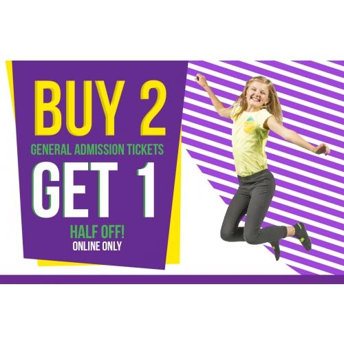 Buy 2 Jump Tickets, Get 1 Half Off