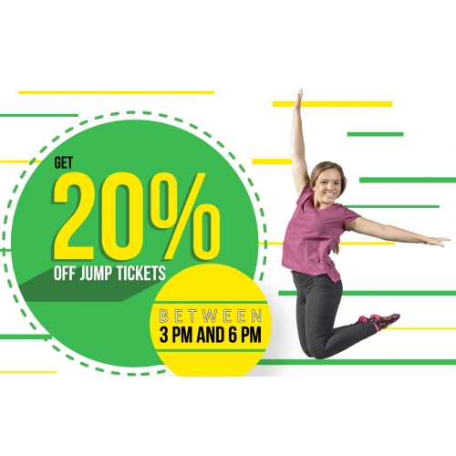 After School Special - 20% off tickets between 3 and 6 PM Monday through Friday