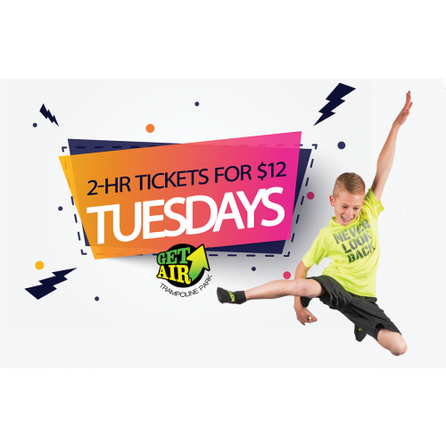 $12 TUESDAYS – GET 2-HOUR TICKETS FOR $12 (VALID ANY TUESDAY IN AUGUST)