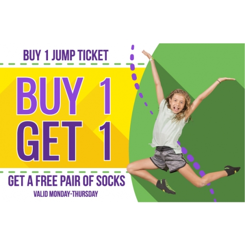 Buy 1 Jump Ticket Get A Free Pair of Socks (Valid Mon-Thurs)