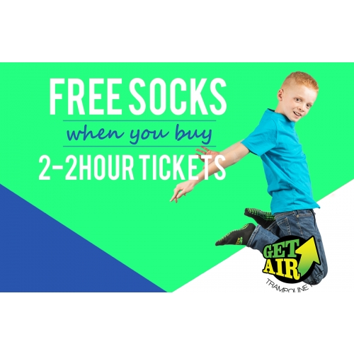 BUY TWO 2-HOUR TICKETS, GET TWO PAIRS OF JUMP SOCKS FREE