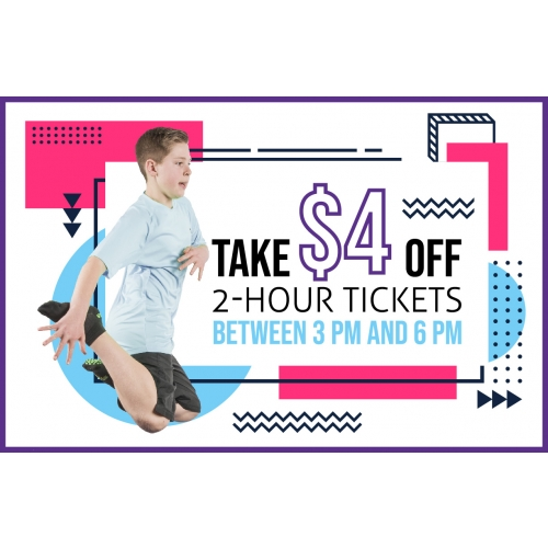 Take $4 Off 2-Hr Jump Tickets between 3 PM and 6 PM