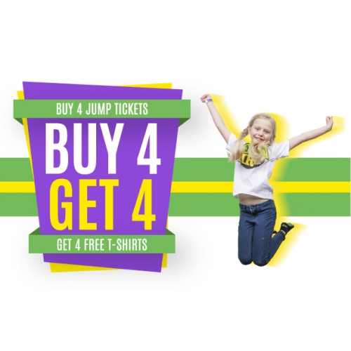 Buy 4 Two-hour Jump Tickets, Get 4 T-shirts Free
