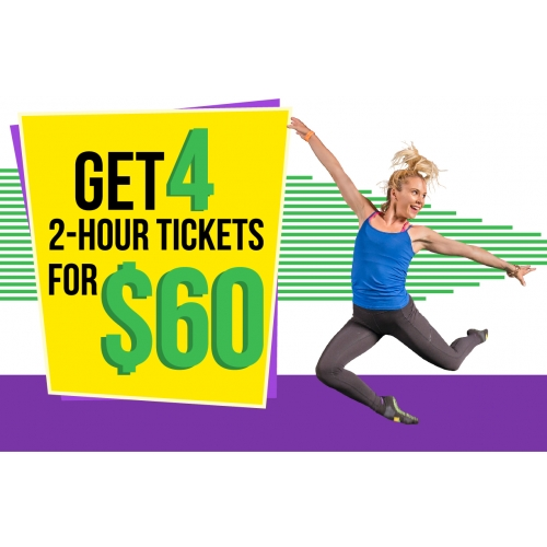 Four Times The Fun-Four 2 Hour General Admission Jump Tickets for $60