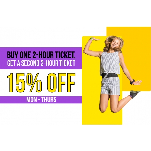 Winter Weekday BOGO - Buy One 2-hour Jump Ticket, Get A Second 2-hour Jump Ticket 15% off Mon - Thurs