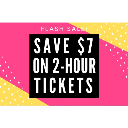 FLASH SALE - GET $7 OFF 2 HOUR GENERAL ADMISSION JUMP PASSES