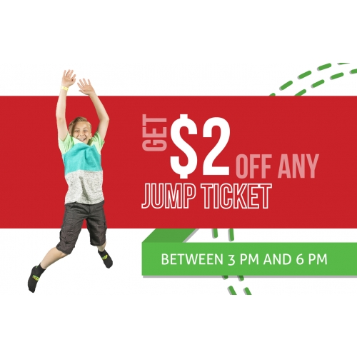 Jingle Jump Deal - $2 off any Jump Ticket between 3 PM and 6 PM