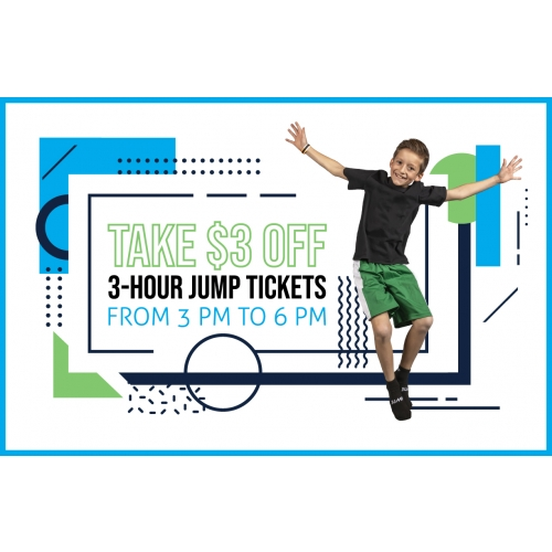 $3 Off 3-Hr Jump Tickets between 3 PM to 6 PM