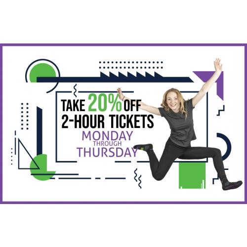 Take 20% Off 2-Hr Jump Tickets Monday through Thursday